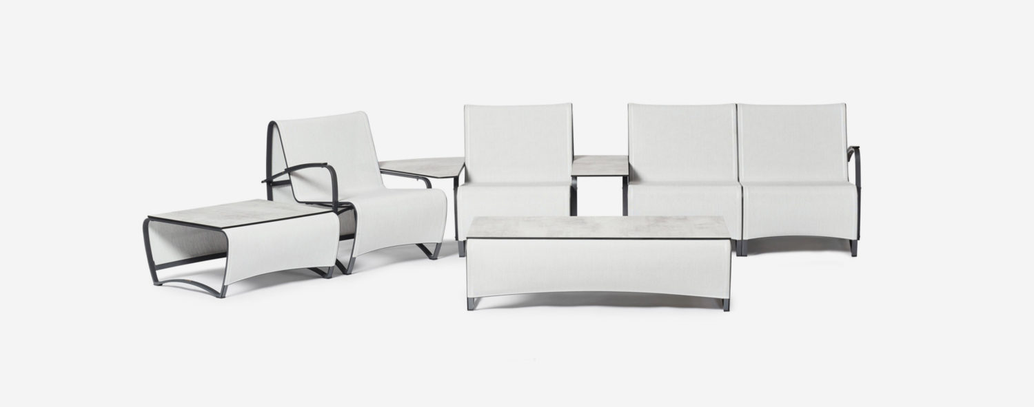 jetstream modular sofa, 4 seats with a rectangular and corner side table and both coffee tables